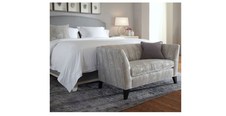 Bed In Blue Grey Bedroom With Small Sofa At The End House And Home