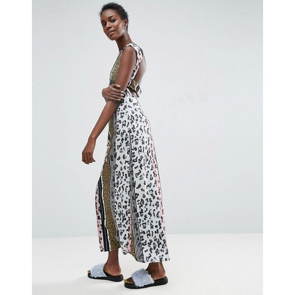 ASOS Made In Kenya Leopard Maxi Dress With Cut Out Back ($53) ❤ liked on Polyvore featuring dresses, multi, leopard print dress, chiffon kimono, striped maxi dress, ruffle maxi dress and color block maxi dresses