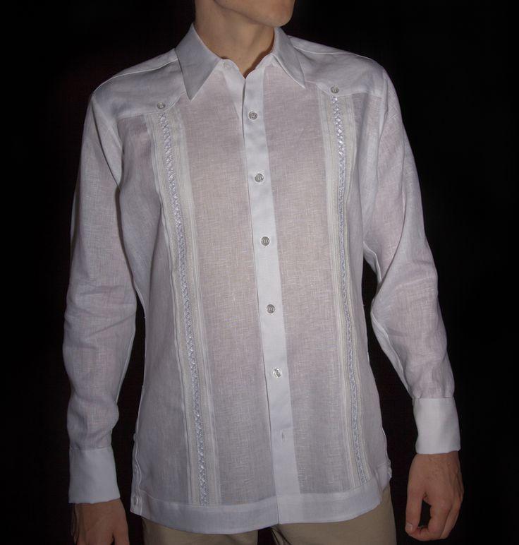 Guayabera Shirt Jack Long Sleeve Linen Beach Wedding Groom Style White