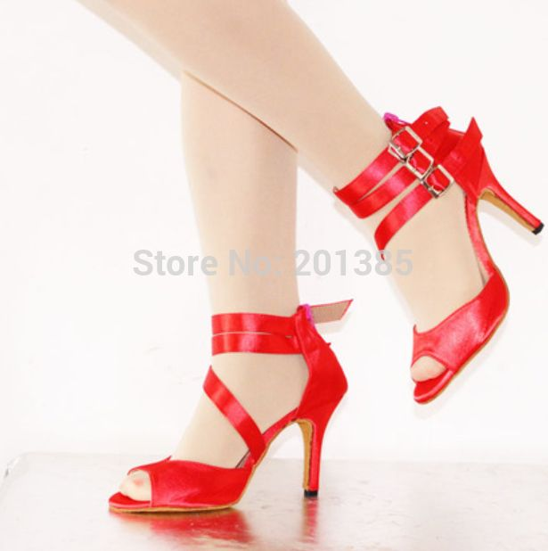 Сексуальная Красная Атласная Дамы ЛАТИНСКИЕ Танцы Обувь САЛЬСА Танцевальная Обувь Танго Обувь Samba Танцы Обувь Размер 4, 4.5, 5, 5.5, 6, 6.5, 7, 7.5, 8, 8.5, 9