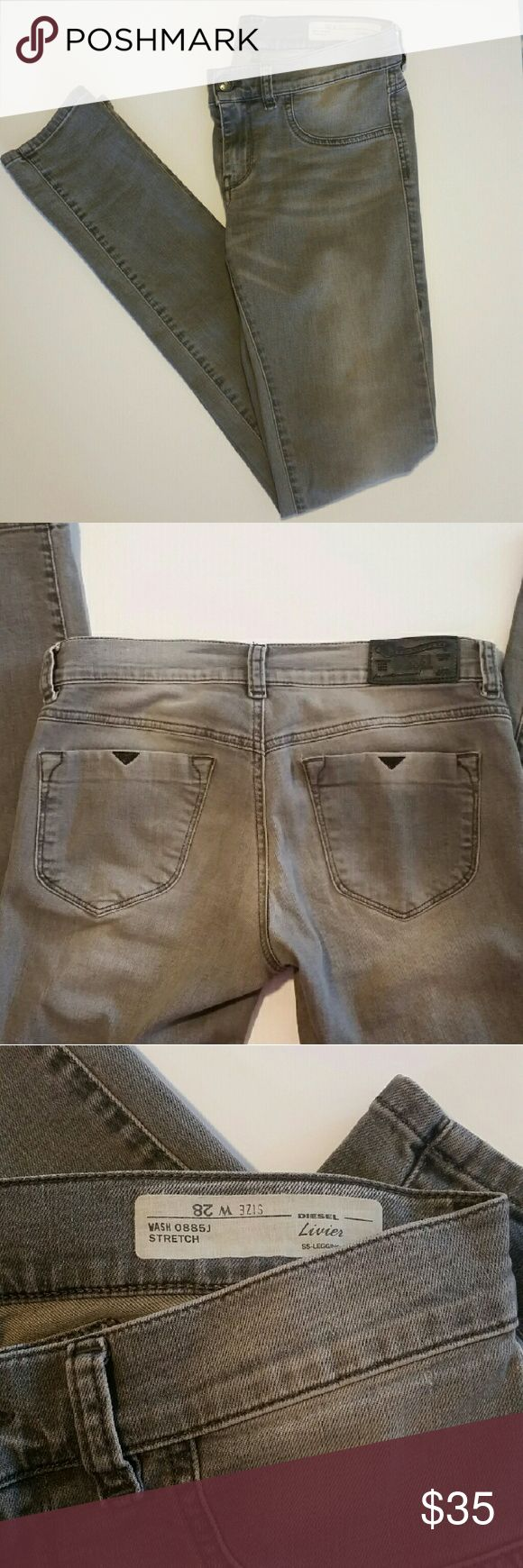 """Diesel Livier SS Legging Stretch Gray Jeans Sz 28 Diesel Super Slim Legging Jeans. Gently used - small flaw on front pocket (see third picture). Only small front pocket and back pockets open.  Women's size 28. Inseam 33"""" Diesel Jeans Skinny"""