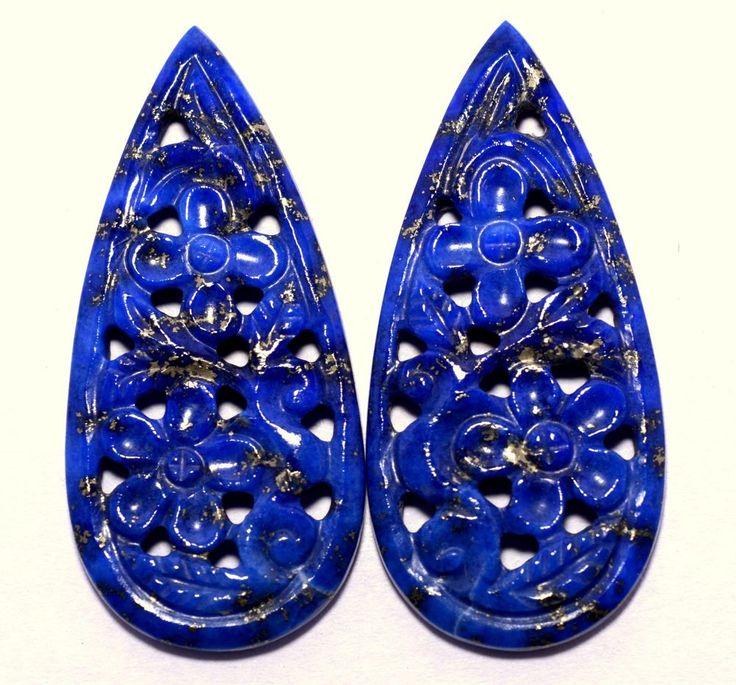 27.49 Cts Natural Lapis Lazuli Handmade Carving Pair 35x15 mm Loose Gemstones #sbigems