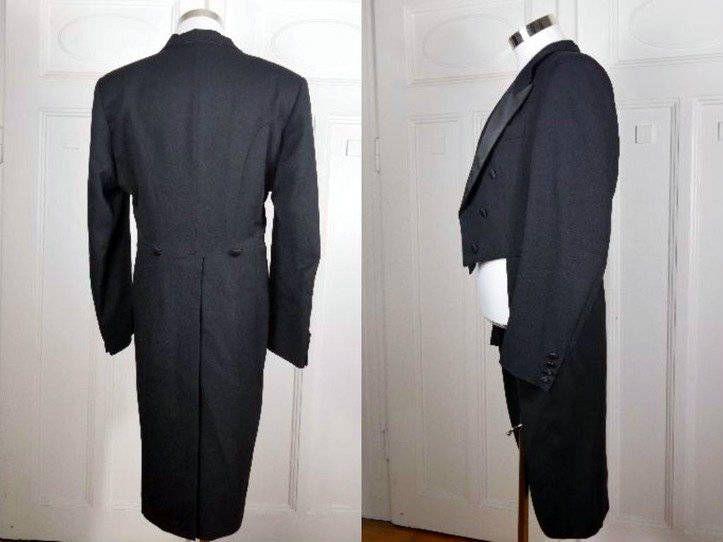Black Evening Tailcoat, British Vintage Evening Tuxedo Tails, Wool-Blend Full-Dress Tailcoat, Steampunk Jacket, Morning Coat: Size 40 US/UK by YouLookAmazing on Etsy
