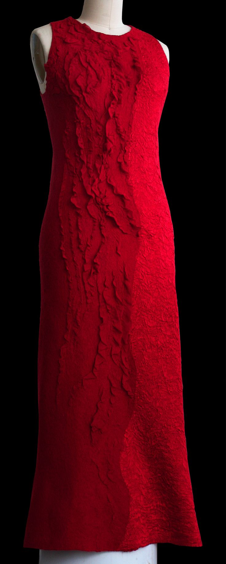 Felted red silk woman dress OOAK seamless long dress evening gown