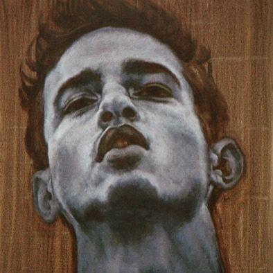"Curly in Grisaille - 2014.  Oil on Canvas, 24""x18"".  #figurativeart #figure #hair #facialhair #gayart #brooklynart #brooklynartist #julianhsiung #oilpainting #oiloncanvas #oil #contemporaryart #contemporary #grisaille #portrait #thickneck #lgbt"