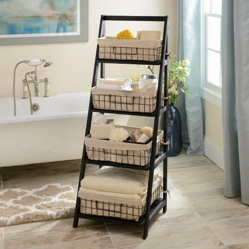 black storage basket wooden ladder shelf