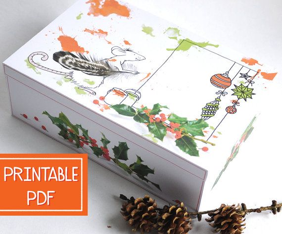 Large Christmas Gift Box  Inspired MOUSE  Christmas by Alsjeblieft