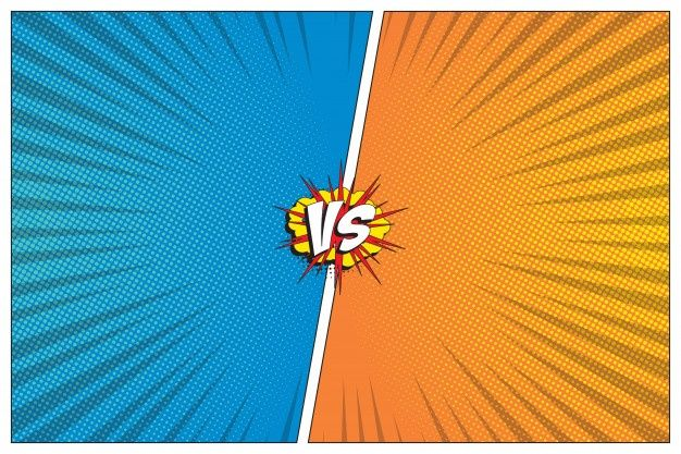 Versus Battle Template With Two Panels Decorated In Retro Comic Style Halftone And Radial Lines Background In 2020 Retro Comic Cartoon Background Halftone