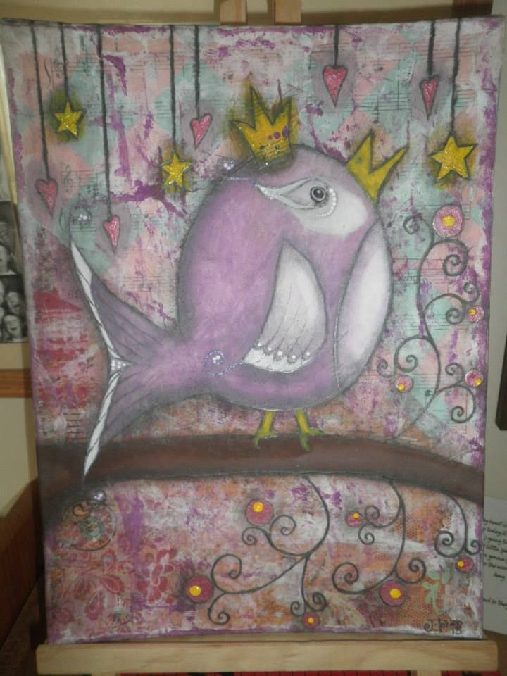 Bday Bird by Jackie Peniuk, mixed media paint over collage on 9x12 canvas board.