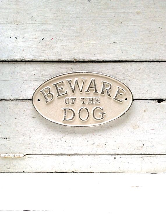 Beware of Dog Sign Vintage Inspired Sign Beware by honeywoodhome