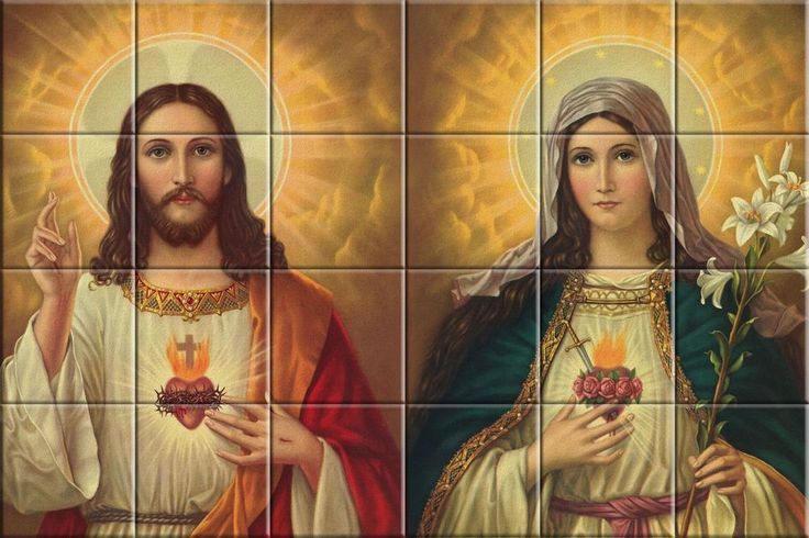 Religious Catholic  tile ceramic mural  Sacred Heart of Jesus and Mary