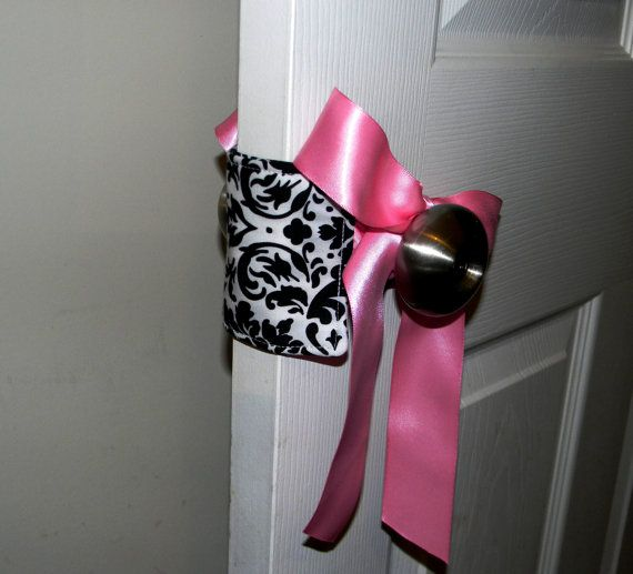 Door Jammer/Silencer Black and White Damask so cute!