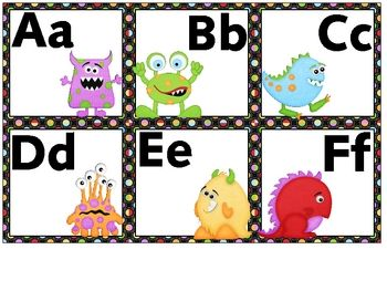 Word wall letters for your monster-themed classroom.  These letters are 6 to a page....