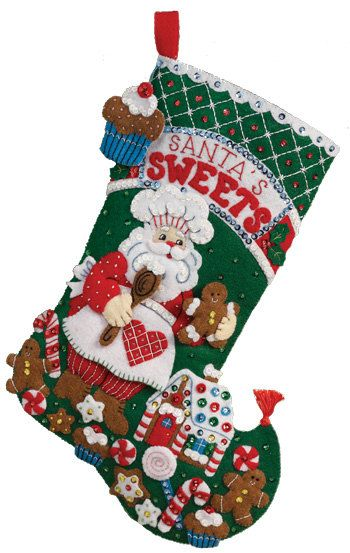 Finished Handcrafted Bucilla Felt Christmas Stocking by AidensLove, $80.00