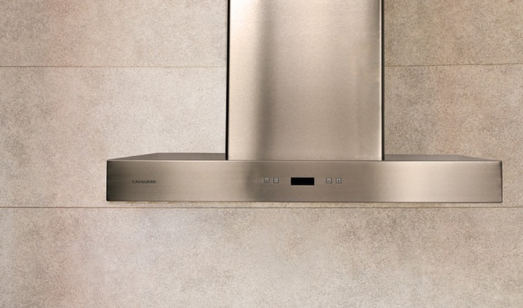 Kitchen Range Hood - This stainless steel kitchen range hood has a slim, modern design and a digital display