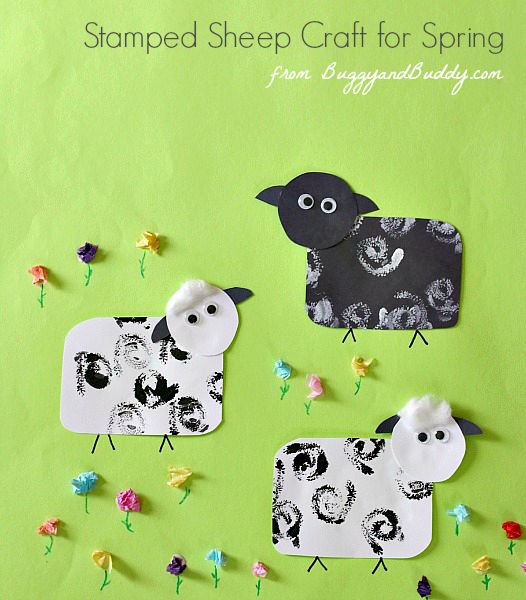 Such a cute craft for Easter and spring! (Stamped Sheep Paper Craft for Kids)~ BuggyandBuddy.com