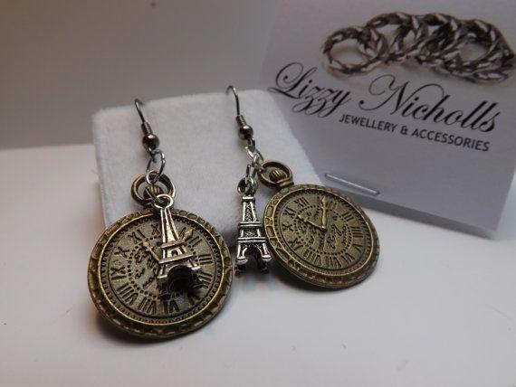 eiffel tower clock charm hook earrings by LizzyNicholls on Etsy, £5.00