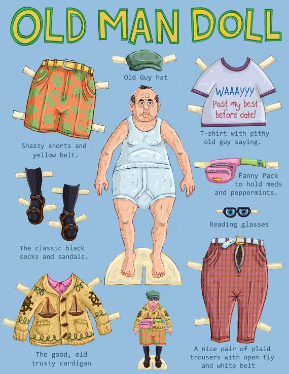 The original Old Man paper doll! Paper doll is printed on heavy 120 lbs card stock and clothes on an 80 lbs stock. It comes with all of the