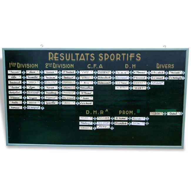 Panneau Affichage Resultats Sportifs Bistrot Bois Et Teck Vert Bon Etat Vintage Panneau Affichage Panneau Resultat Sportif