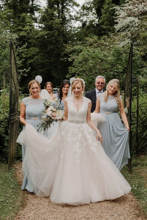 Light blue bridal party    #wedding #weddingideas #aislesociety #vintagewedding #churchwedding