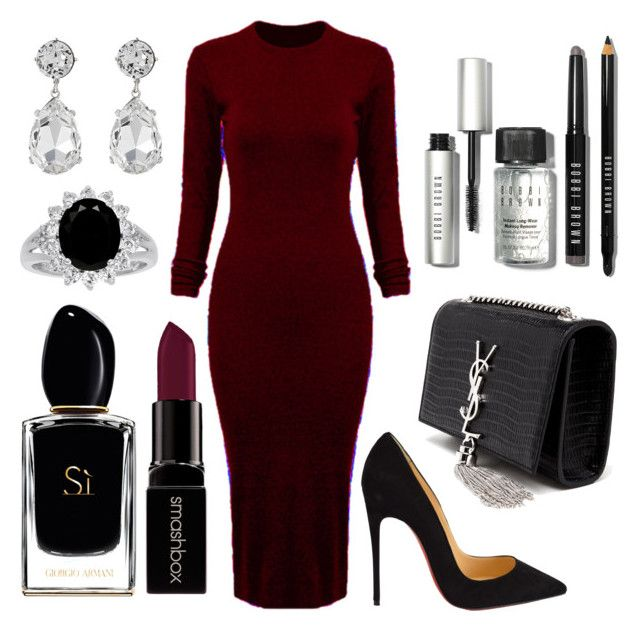 Untitled #108 by rodoulla97 on Polyvore featuring polyvore fashion style WithChic Christian Louboutin Yves Saint Laurent Kenneth Jay Lane Bobbi Brown Cosmetics Smashbox Giorgio Armani clothing