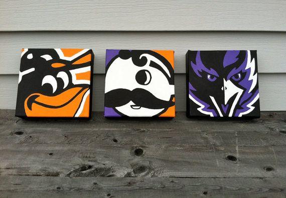 Baltimore Themed Paintings. Baltimore Orioles, Natty Boh & Baltimore Ravens. $50.00, via Etsy.