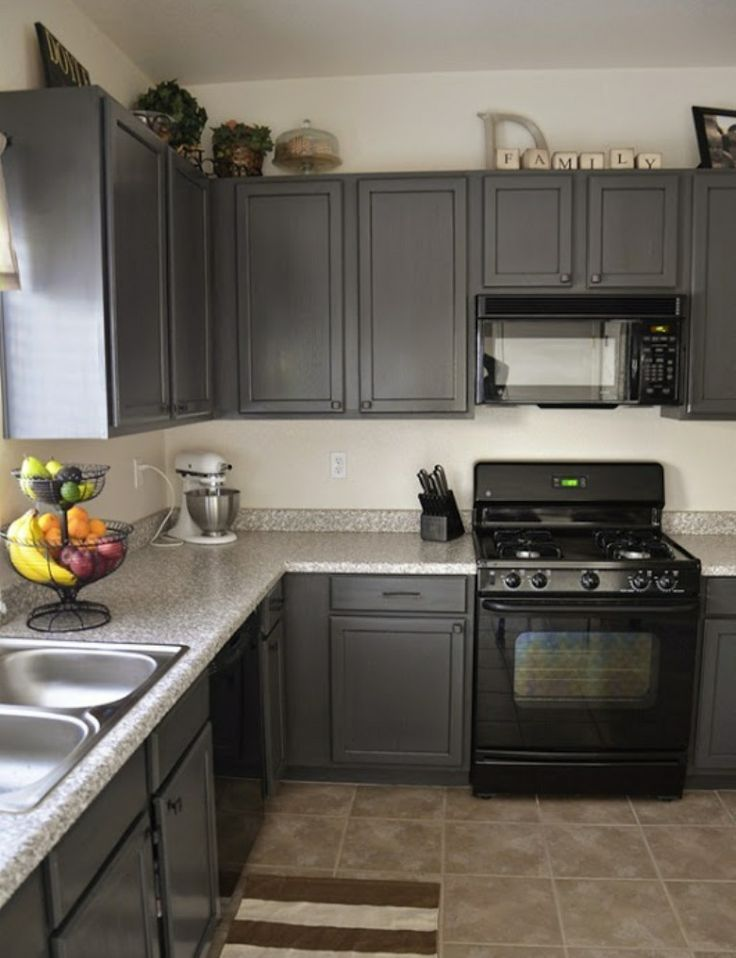 painted kitchen cabinets with black appliances - photo #15