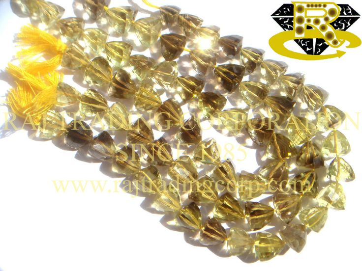 Bio Lemon Faceted Trillion (Quality AA) Shape: Trillion Faceted Length: 18 cm Weight Approx: 14 to 16 Grms. Size Approx: 7.50 to 9.50 mm Price $27.60 Each Strand