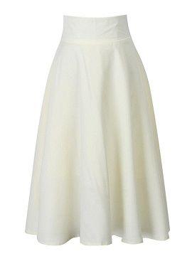 White High Waisted Skater Skirt