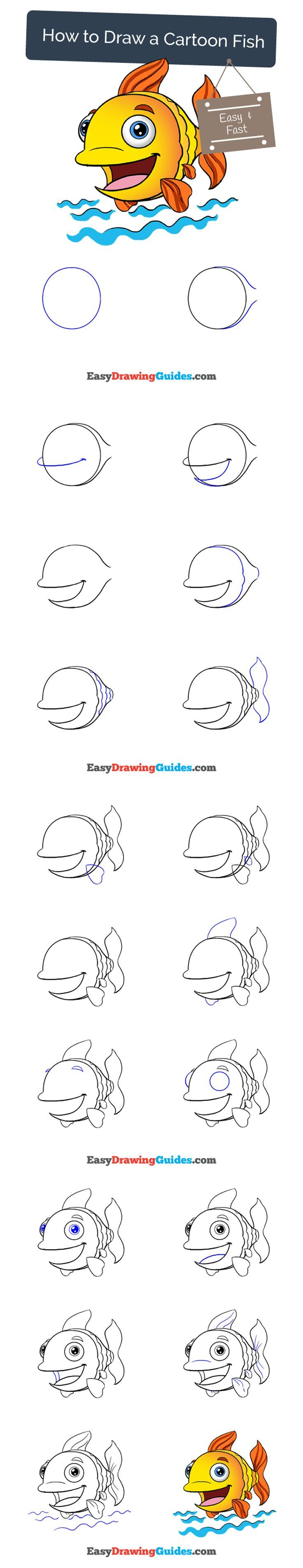 Learn How to Draw a Happy Cartoon Fish: Easy Step-by-Step Drawing Tutorial for Kids and Beginners. #fish #cartoon #drawing #tutorial. See the full tutorial at https://easydrawingguides.com/how-to-draw-a-cartoon-fish/