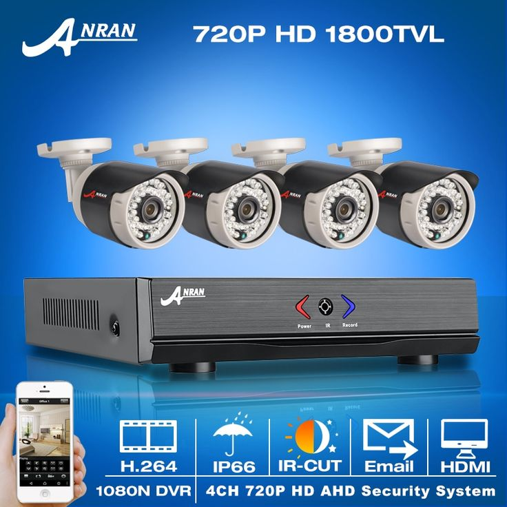 152.00$  Buy here - http://aliona.worldwells.pw/go.php?t=32708061691 - ANRAN 4CH AHD DVR CCTV System 1080N HDMI+4PCS 720P HD 1800TVL Outdoor Weatherproof  Mini Camera Home Video Surveillance Kits 152.00$