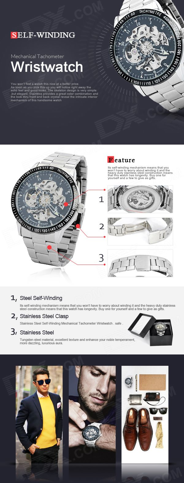 Stainless Steel Self-Winding Mechanical Tachymeter Wristwatch - Free Shipping - DealExtreme