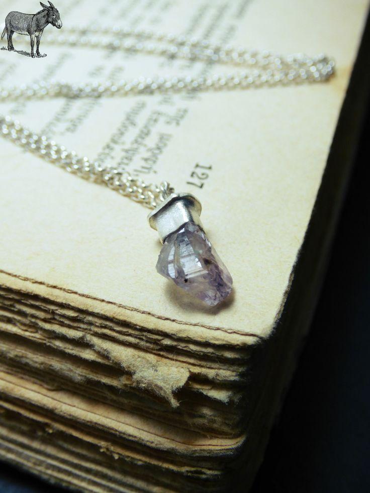 """""""Rough Amethyst necklace"""" - Xειροποίητο μενταγιόν επάργυρο με κρύσταλλο Αμέθυστου!"""