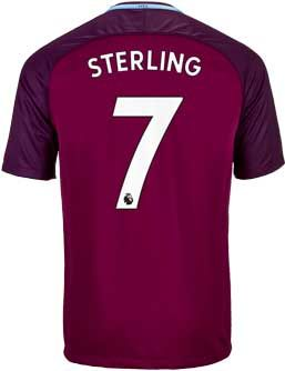 2017/18 Nike Raheem Sterling Manchester Away Jersey. Available from www.soccerpro.com