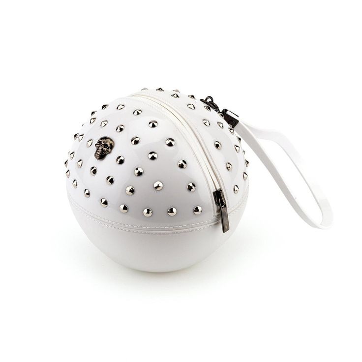 """Rock'n'Ball"" sphere handbag, studded in solid colour bright PVC and a PVC handle"