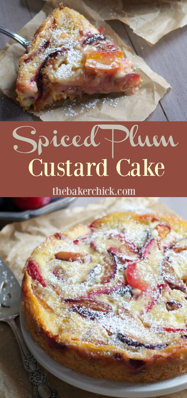 Spiced Plum Custard Cake