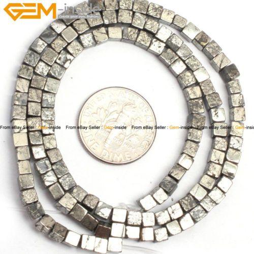 "Natural cube pyrite gemstone jewelry making beads strand 15"" 3/4/6/8/10mm select"
