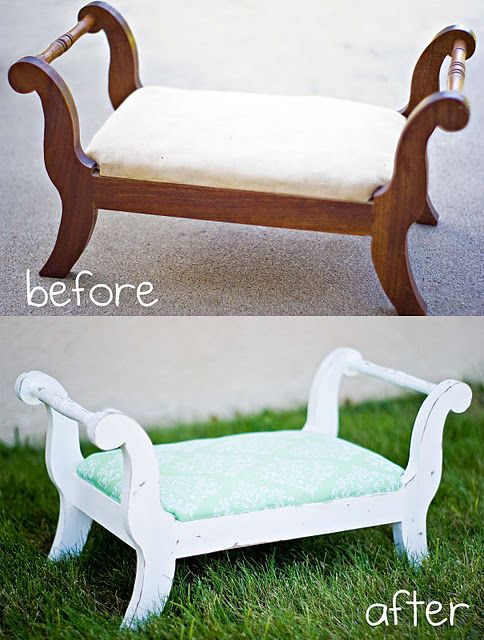 Footstool make over... Need to find one of these for a photo prop!!