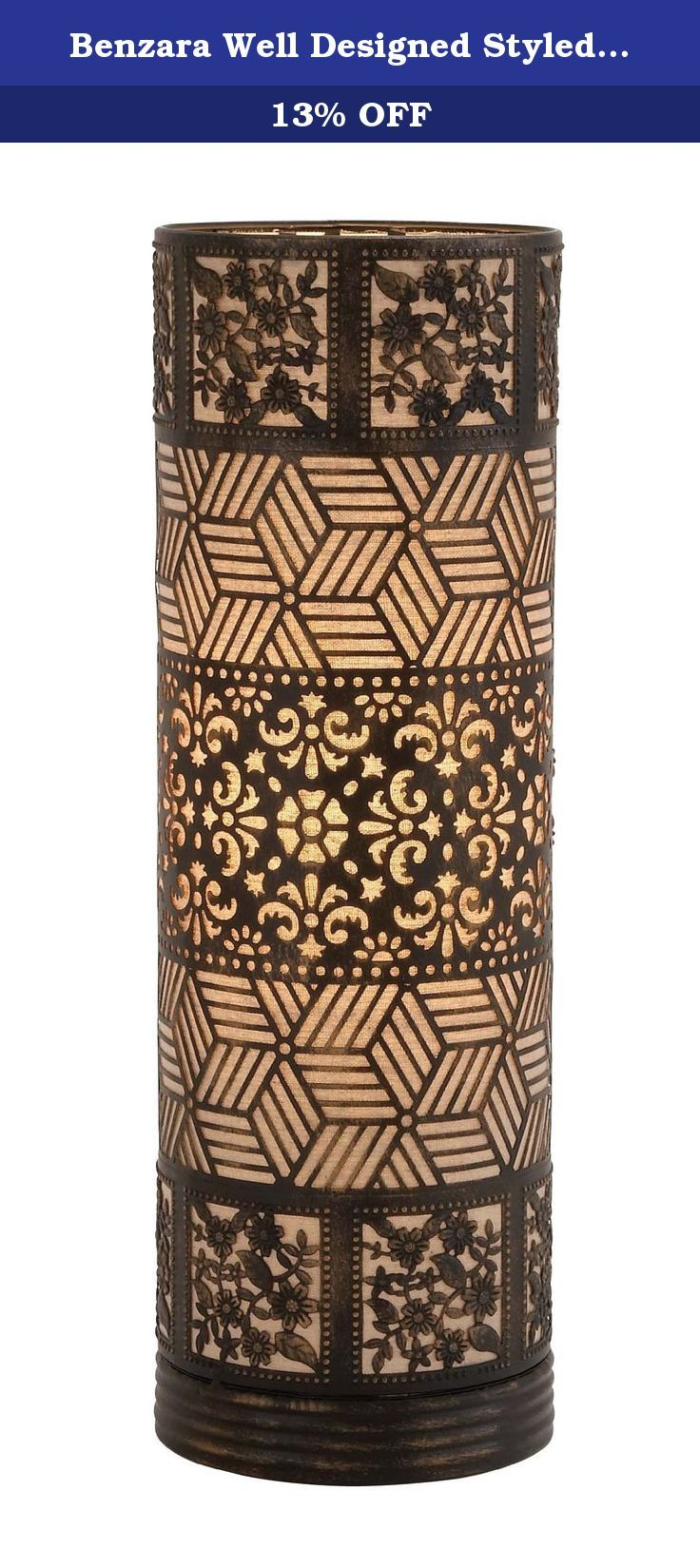 Benzara Well Designed Styled Metal Cylinder Table Lamp. Brighten up your space by adding this cylinder table lamp. The table lamp is cylindrical shaped made of quality metal that will last for years. This table lamp features brown designs amid of which you can add a candle of your choice and brighten up your space. The table lamp will steal the spotlight and flourish your ambience with lights. You can add this table lamp to your living space.