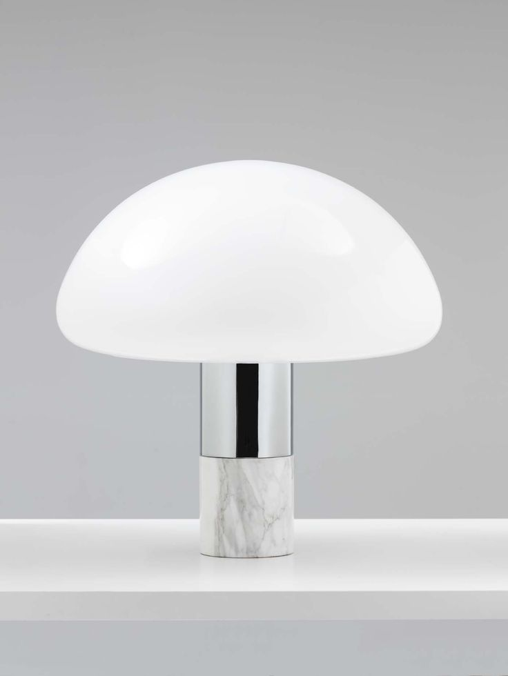 Kw table lamp polished chrome white carrara marble opal murano glass