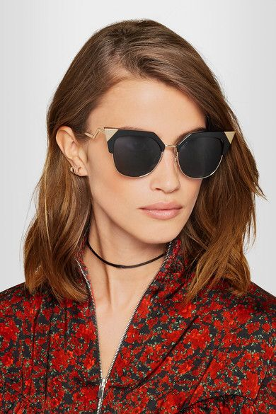 9a8083eb5a2 Fendi - Iridia Cat-eye Gold-tone And Acetate Sunglasses - Black  affiliate