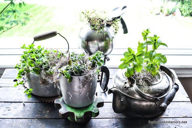 Herb garden using old pots