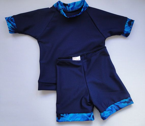 Blue Lagoon Swimwear SPF50 sun rash shirt and short by SunTrooper Swimwear, €29.50 available from our Etsy store