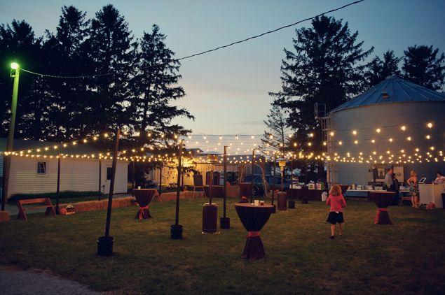 Outdoor, backyard wedding lighting - Photo Source • Mark Romine Photography