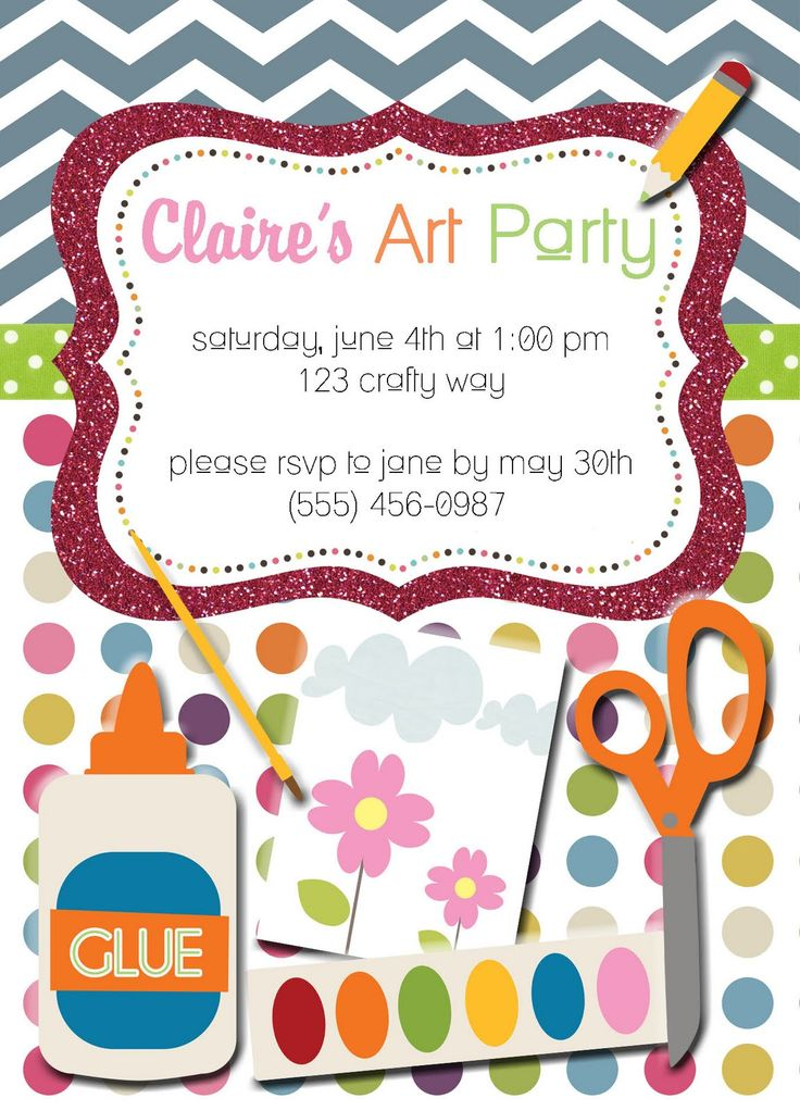 Amazing Arts And Crafts Birthday Party Invitations Gallery ...