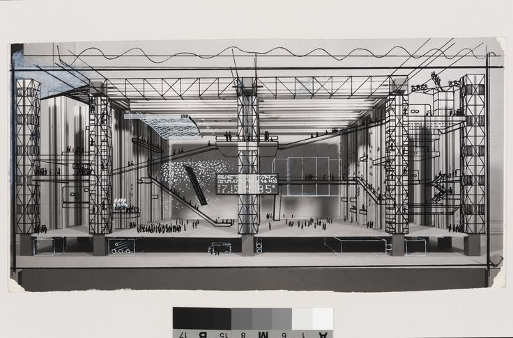 Cedric Price Fun Palace: Interior perspective 1964 black and white ink over gelatin silver print 12.6 x 24.8 cm
