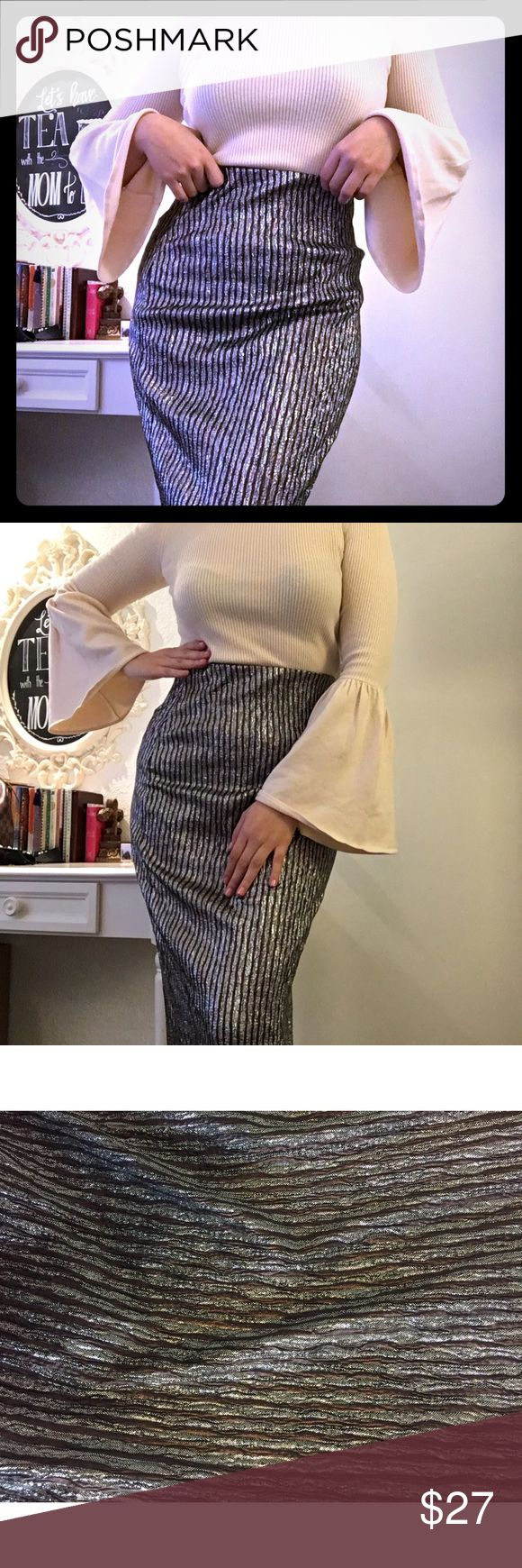 Maxi bcbg skirt silver and brown formal Beautiful long formal skirt. Silver with brown. Has a sort of longer tail on the back side. Top is all elastic for perfect fit BCBGeneration Skirts Maxi