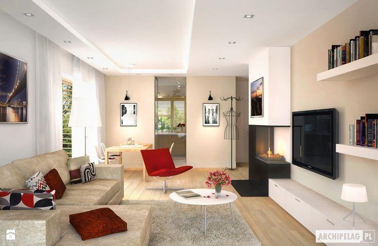 Projekt domu Iwo G1 - wizualizacja salonu - zdjęcie od Pracownia Projektowa…