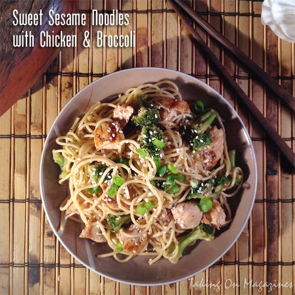 Sweet Sesame Noodles with Chicken Broccoli | Taking On Magazines | www.takingonmagazines.com | You can't beat a one-bowl meal that tastes amazing, is easy to make, and is light on calories and fat.