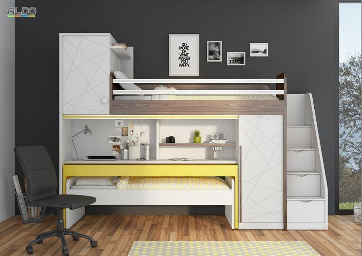 Poschodová posteľ s písacím stolom New Tower-yellow
